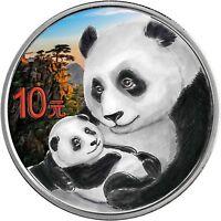 China 10 Yuan 2019 Panda 1 Oz Silber Anlagemünze in Farbe