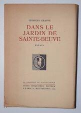 Dans le jardin de Sainte-Beuve - Essais, Georges Grappe, Henri Jonquières 1929