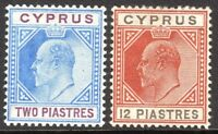 Cyprus 1902 blue/purple 2pi chestnut/black 12pi crown CA mint SG53/57