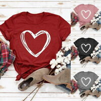 Ladies Heart Print Blouse T-Shirt Short Sleeve Loose Fit  Summer Crew Neck Tops