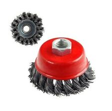 "3"" x 5/8"" 11 NC FINE Knot Wire Cup Brush - For Angle Grinders Knotted Wheel"