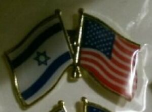 USA and Israeli Crossed Flags Jewish Lapel Friendship Stand With Israel Pin