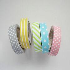 5 pack 8mm washi paper tape - grey pink yellow green blue stripes polkadots - 5m