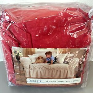 Sure Fit Sofa Slipcover Red or Blue NIP Duck Fabric One Piece NOS Solid LB