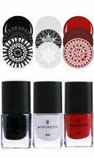 3 Colours Set BORN PRETTY Nail Art Stamping Polish Kit Black Red White