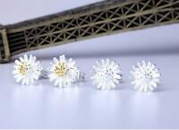 925 Sterling Silver Plated Daisy Flower Stud Earrings Butterfly Back Gift