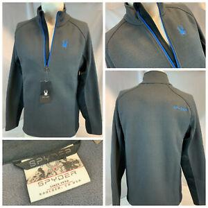 Spyder Outbound Ski Fleece Pullover M Gray ¼ Zip Poly Blue Logo NWT YGI B1-362