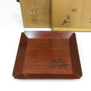 D1159: Real Japanese old tea thing tray by great SOTETSU w/Great master SEISAI.