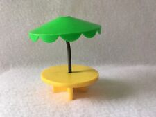 Vintage Fisher Price Little People UMBRELLA PATIO TABLE Green/Yellow Picnic