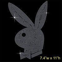 Bunny Rabbit Rhinestone/Diamante Transfer Hotfix Iron on Motif Applique
