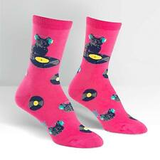 Cat Scratch Records Crew Socks Pink New Women's Hosiery Size 9-11 Sock It To Me