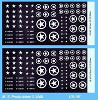 1/76 to 1/144 12mm 15mm 20mm FOW Decals US-107 US Stars + Circled White AFVs