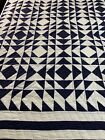NICE%21+Vintage+Hand+Quilted+Navy+Blue+%26++White+Wild+Geese+Quilt+84x82+Full+%23184