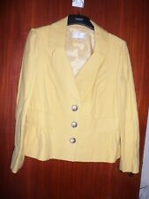 ladies CC mustard yellow jacket size 14 Petite fully lined collared cotton blend