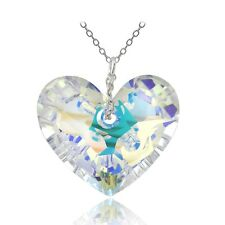 925 Silver Aurora Borealis Heart Pendant Necklace Made with Swarovski Crystals