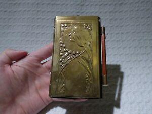 Antique Art Nouveau Brass Folding Notepad & Pencil Holder Desk Accessory