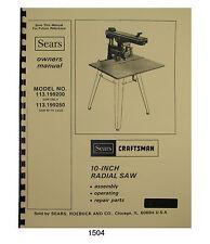 Sears Craftsman 113199200 Amp 113199250 10 Radial Arm Saw Owner Manual 1504