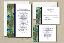 100 Personalized Peacock Feather Wedding Invitation Set with Envelopes