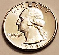 1964 P and D Pair of Choice BU USA Silver Washington Quarters. Free Shipping.