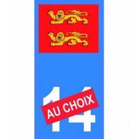 Blason Normandie numéro au choix moto autocollant plaque immatriculation