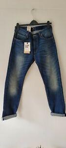 New Mens Lee 101 Indigo Jeans Rider Slim Leg 32x32 32R 13oz White Selvege Denim