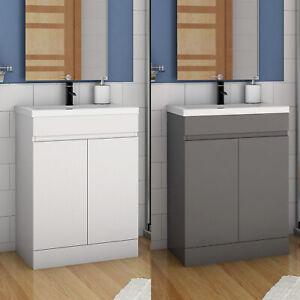 Standschrank 50 60 cm Badmöbel Set  Waschbecken mit Unterschrank Weiß Anthrazit