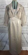 ALEX EVENINGS two pc Long Formal GOWN Sz 10 Taupe Shimmer Sheer Jacket Beaded