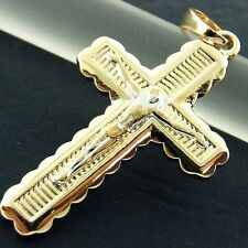 FS507 GENUINE 18K YELLOW & WHITE G/F GOLD SOLID JESUS CROSS CRUCIFIX PENDANT
