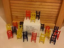 Vintage Taiwan CHAIR STACKING GAME 19 Red-Yellow-Blue Chairs With Original Box