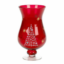 26 cm Red Glass Hurricane Tea Light Candle Holder with Christmas Tree 75-3060