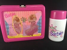 1990 Pink Mattel Barbie Plastic Lunchbox & Drink Container Thermos