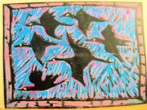 FLYING by RUTH FREEMAN  MIXED MEDIA 7 3/4 X 10 3/4