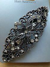 Argent Aspect Ancien Design Fleur Barrette à cheveux métal