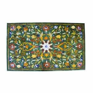 "48"" x 30"" Green marble Table Top inlay semi precious stones handicraft work"