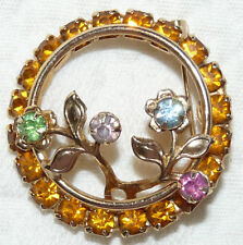Vintage Gold Tone Yellow Amber & Multicolored Rhinestone Circle Brooch/Pin PP74