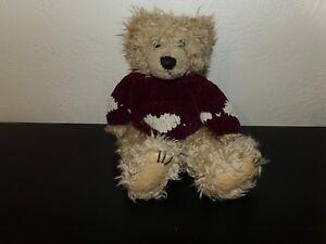 "Sweet 11"" First & Main SCRAGGLES Plush Bear w/ Heart Sweater (*70)"
