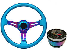 Blue Neo Chrome TS Steering Wheel + Neo Quick Release boss NCh for SUZUKI