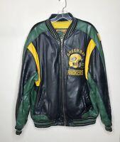 Vintage G-III & Carl Banks Green Bay Packers Black Leather Jacket Men's Large