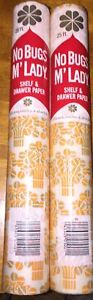 Vintage No Bugs M'Lady Shelf & Drawer Paper Orange And Tan Flowers 2 Rolls
