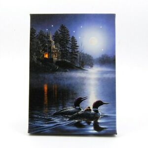 Moon Lit Ducks On Water LED Light Up Lighted Canvas Picture Wall or Tabletop Art
