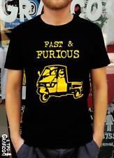 T-shirt FAST & FURIOUS Ape Piaggio Tuning Maglia Cotone 100% Uomo Nero T shirt