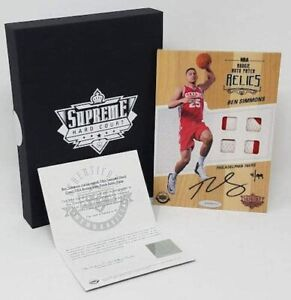 BEN SIMMONS Autographed Supreme Hard Court Rookie Quad Jersey Patch UDA LE 4/99