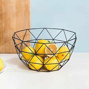 Wire Fruit Bowl Bread Egg Basket Black Powder Coated Storage Dish Dining Table