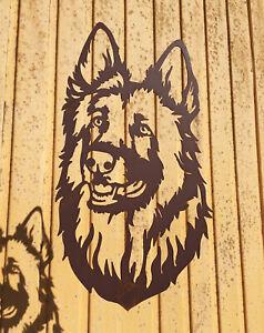 Wandbild Schäferhund 45x27cm Edelrost Schild Wandhänger Rost Figur Hunde Kopf