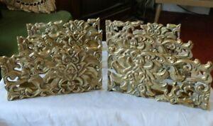"LOT SET 6 Vintage Antique Brass 9"" Shelf Wall Brackets Architecture Deco Holders"