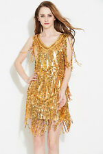 Gold SEQUINED FRINGE DRESS/SEQUIN STAGE DANCE COSTUME/DRAG QUEEN/6-10 (Maybe 12)