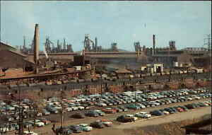 GARY IN US Steel Corp FACTORY PARKING LOT Classic Old Cars Old Postcard
