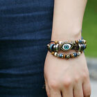 Fashion Multilayer Infinity Eye Handmade Leather Bracelet Cuff Bangle Chain Cool