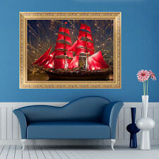 5D DIY Diamond Red Sailing Ship Boat Embroidery Painting Cross Stitch Home Decor