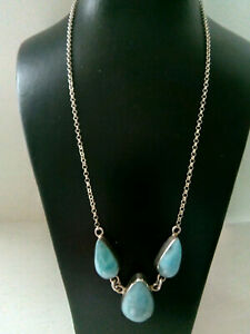 """Lovely 925 Silver Italian Turquoise Stone Necklace - 17"""" - 12g"""